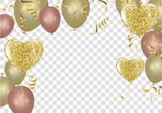 Golden balloons in the shape of a heart on a background the shap. E of a heart on a white background Stock Photo