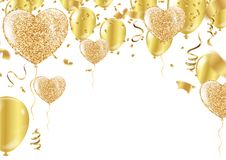Golden balloons in the shape of a heart on a background the shap. E of a heart on a white background Royalty Free Stock Photos