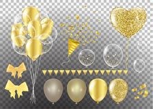 Golden balloons in the shape of a heart on a background the shap. E of a heart on a white background Stock Photos
