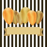 Golden balloons. On stripe background Stock Photos