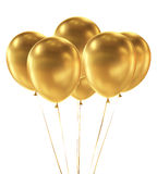 Golden Balloons  on White Background Royalty Free Stock Images