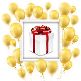 Golden Balloons White Frame Gift Box. Gift box with golden balloons on the white Royalty Free Stock Image