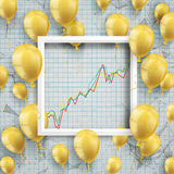 Golden Balloons White Frame Growing Chart. Golden balloons with white frame and growing chart on the checked background Stock Images