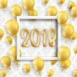 2018 Golden Balloons White Frame Ornaments Wallpaper. Golden balloons with white frame and numbers 2018 on the wallpaper with ornaments Royalty Free Stock Images