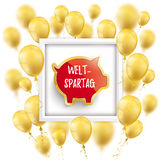 Golden Balloons White Frame Piggy Bank Weltspartag Stock Photos