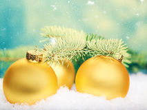 Golden balls. Abstract Xmas decorations Stock Images