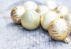 Golden balls for Christmas tree decoration Stock Photo