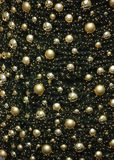 Sparkling golden Christmas tree decoration with many glowing christmas balls. Golden balls and festive lights on the christmas background with sparkles stock photo