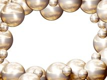 Golden balls frame. Frame made of lots of golden shining balls, planets. Illustration made on computer Stock Images