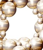 Golden balls frame 2. Frame made of lots of golden shining balls, planets. Illustration made on computer Royalty Free Stock Images