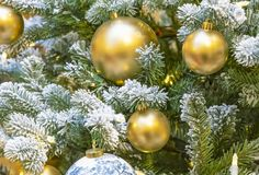 Golden balls and a garland on a snowy Christmas tree royalty free stock image
