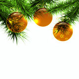 Golden balls and green branch on a white background, vector Stock Photo