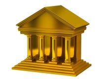 Golden bank building. 3d illustration of golden bank building Royalty Free Stock Image
