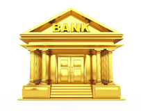 Golden Bank Building. 3d Rendering. Golden Bank Building on a white background. 3d Rendering Royalty Free Stock Photography