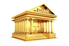 Golden Bank Building. 3d Rendering. Golden Bank Building on a white background. 3d Rendering Stock Photography