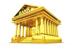 Golden Bank Building. 3d Rendering. Golden Bank Building on a white background. 3d Rendering Royalty Free Stock Image