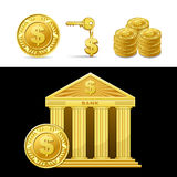 Golden bank with money Stock Image