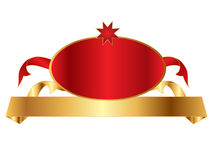 Golden banner with badge Royalty Free Stock Photography