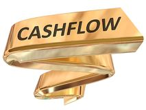 Golden Banner cashflow. Cashflow 3d rendered golden banner , isolated on white background Stock Images