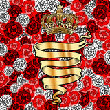 Golden Banner And Crown On Roses Background. Royalty Free Stock Photos