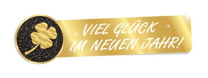 Golden Banner With German Words Good Luck In The New Year With C. Lover  - Isolated On White Backround Royalty Free Stock Photography