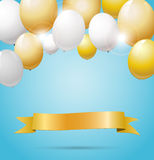 Golden banner with golden and white balloons Royalty Free Stock Photo