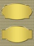 Golden banner on metallic Stock Photos