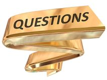 Golden Banner questions. Questions 3d rendered golden banner , isolated on white background Stock Photos