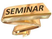 Golden Banner seminar. Seminar 3d rendered golden banner , isolated on white background Stock Photo
