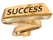 Golden Banner success. Success 3d rendered golden banner , isolated on white background Stock Photo