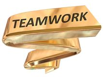 Golden Banner teamwork. Teamwork 3d rendered golden banner , isolated on white background Royalty Free Stock Image