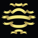 Golden Banners. Set Of Golden Banners With Space For Text (vector or XXL jpeg image Royalty Free Stock Images