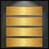 Golden banners. Four golden banners on striped black background Royalty Free Stock Photo