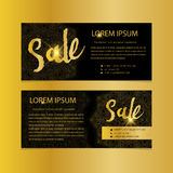 Golden banners. Gold text. Gift, luxury, card, vip, exclusive, certificate, privilege, voucher, present, shopping, sale Stock Photo