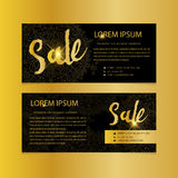 Golden banners. Gold text. Gift, luxury, card, vip, exclusive, certificate, privilege, voucher, present, shopping, sale Royalty Free Stock Image