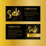 Golden banners. Gold text. Gift, luxury, card, vip, exclusive, certificate, privilege, voucher, present, shopping, sale Stock Image