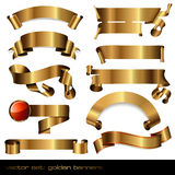 Golden banners/scrolls. Set of 10 luxurious golden  banners Stock Images