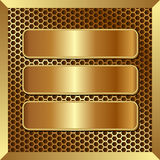 Golden banners. Three golden banners on metallic background Royalty Free Stock Photos