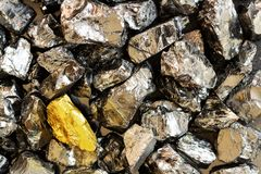 Golden bar on background of raw coal nuggets close-up stock photo