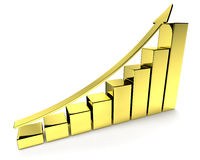 Golden bar-chart with arrow. Financial growth, investment success and financial business and banking development concept: growing bar chart made of gold with Royalty Free Stock Photo