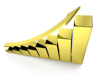 Golden bar chart with arrow top view. Financial growth, investment success and financial business and banking development concept: growing bar chart made of gold Royalty Free Stock Photo