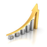 Golden Bar Chart Business Growth With Rising Up Arrow. Sccess Co. Ncept 3d Render Illustration Stock Photography