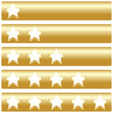 Golden bar with five rating stars. Vector illustration Royalty Free Stock Photos
