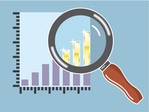 Golden bar graph increase Magnifying glass Vector Royalty Free Stock Images