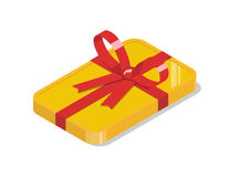 Golden bar tied with a red ribbon bow. Golden bar tied with a red ribbon with bow. Financial gift, bonus, present or prize. Isometric vector illustration Stock Photos