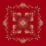 Golden baroque element on red background. Royalty Free Stock Photo