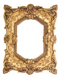 Golden baroque frame isolated on white background Royalty Free Stock Images