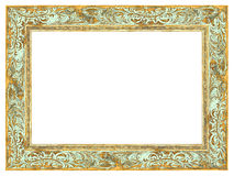 Golden Baroque Frame with light green patina Royalty Free Stock Photo