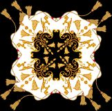 Golden baroque in ornament elements  vintage gold rope scarf design royalty free illustration