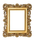 Golden baroque picture frame isolated white background Royalty Free Stock Photography